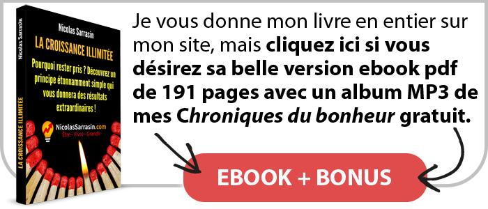 """Ebook pdf du livre """"La croissance (personnelle) illimitée"""" de Nicolas Sarrasin avec un bonus"""