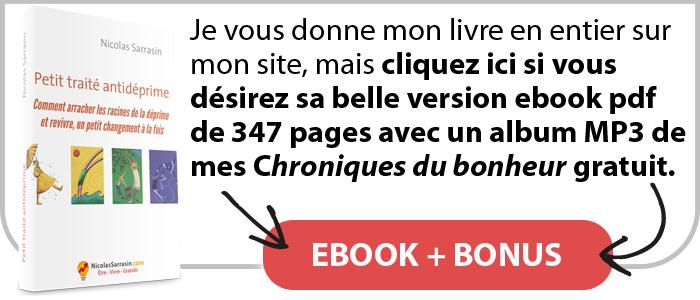 """Ebook pdf du livre """"Petit traité antidéprime"""" de Nicolas Sarrasin avec un bonus"""