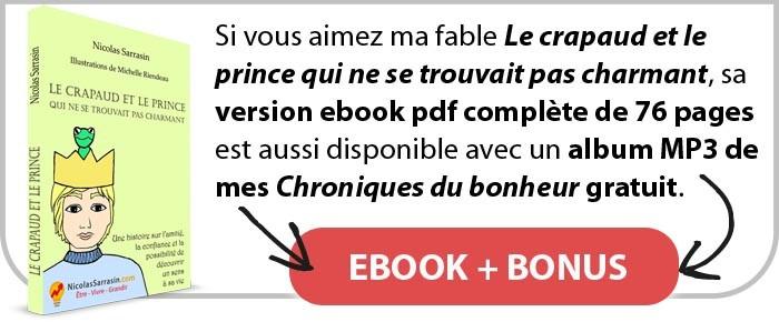 """Ebook de la fable """"Le crapaud et le prince qui ne se trouvait pas charmant"""" de Nicolas Sarrasin"""